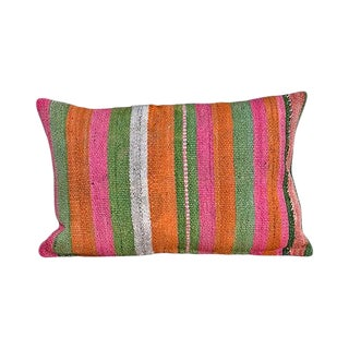 Kim Salmela Boho Chic Peruvian Striped Kilim Lumbar Pillow For Sale