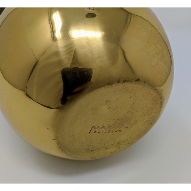 Early 21st Century Mid-Century Modern Black Horn and Brass Bulb Vase For Sale - Image 5 of 7