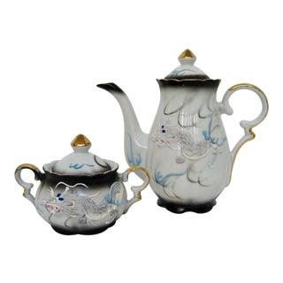 Moriage Porcelain Teapot & Sugar Bowl For Sale