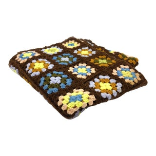 Vintage Brown and Pastel Hand Crocheted Traditional Granny Square Afghan For Sale