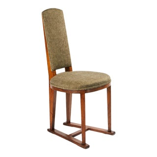 Featured in The 2020 San Francisco Decorator Showcase — Early 1900s Arts & Crafts Patina & Green Oak Side Chair For Sale
