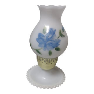 Vintage Hand Painted Milk Glass Lamp For Sale