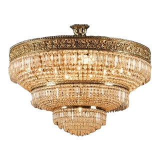 Italian Cut Crystal & Gilt Bronze Chandelier
