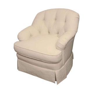 Ivory Tufted Swivel Chair For Sale