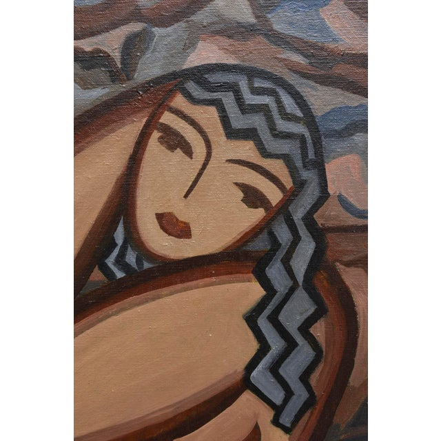 Art Deco Signed French Suzanne Bertillon Art Deco Oil On Canvas Custom Framed Painting For Sale - Image 3 of 11