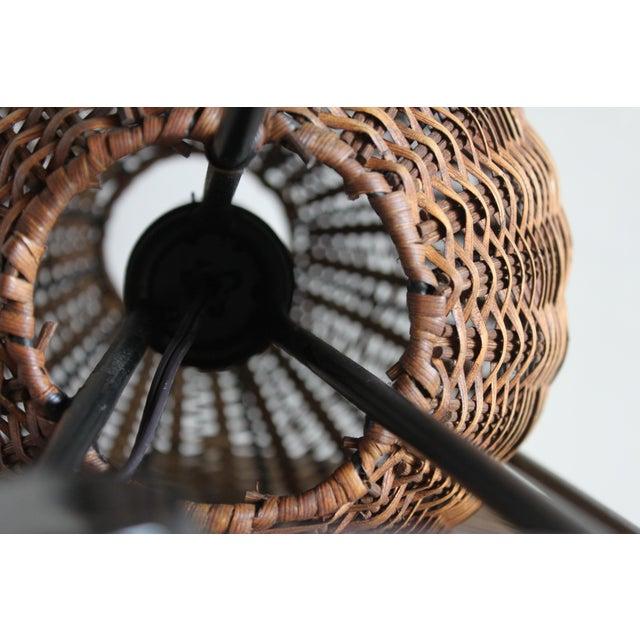 Paul Mayen Mid-Century Rattan & Iron Hairpin Floor Lamp For Sale - Image 10 of 13