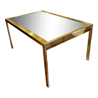 1970s Vintage Milo Baughman for Design Institute of America Brass and Mirror Extendable Dining Table For Sale
