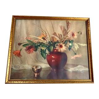 1940s Floral Still Life, Large Framed Art For Sale