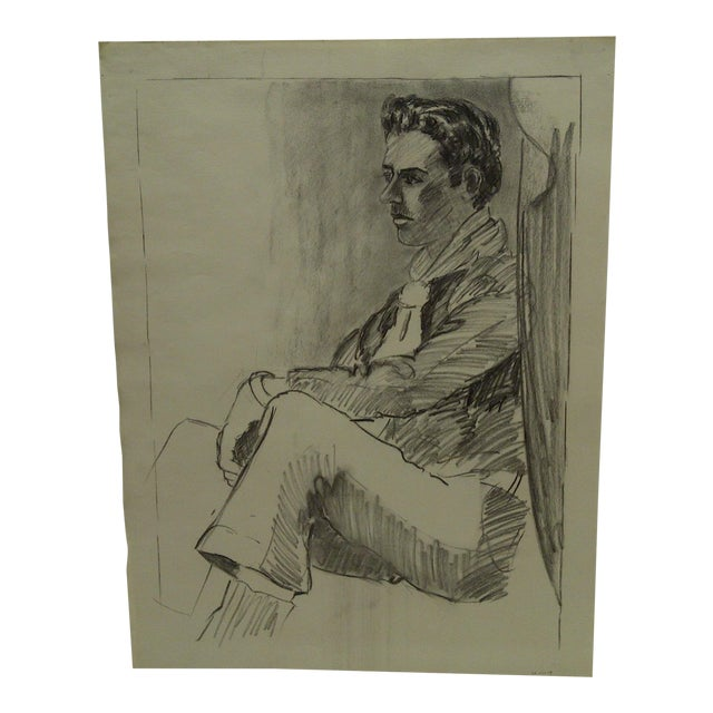 "Original Drawing Sketch Deep in Thought"" by Tom Sturges Jr., 1959 For Sale"