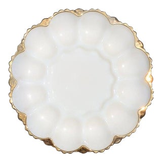 White Round Milk Glass Oyster Muscle or Egg Serving Dish With Gold Details For Sale