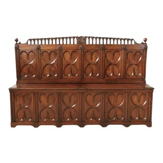 18th Century French Gothic Revival Period Walnut Settle or Hall Bench With Lift For Sale