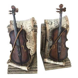 Vintage Violin and Sheet Music Bookends - A Pair For Sale
