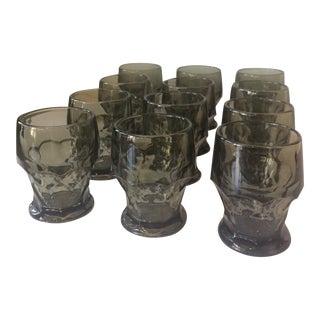 Vintage Smoke Grey Glasses- Set of 12 For Sale