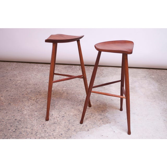 Danish Modern Vintage Solid Walnut Studio Craft Bar Stools by David Scott - a Pair For Sale - Image 3 of 13