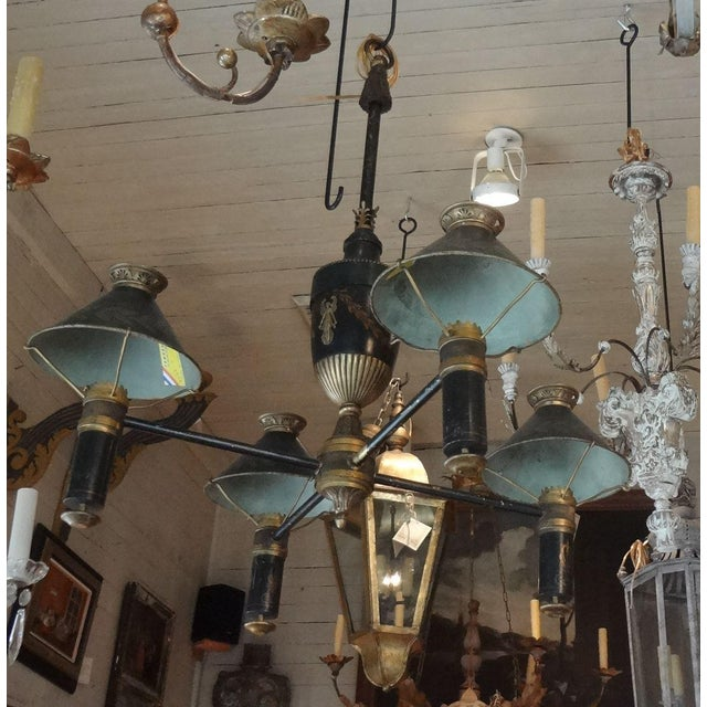 19th Century French Bronze Chandelier With Bonnets For Sale - Image 10 of 11