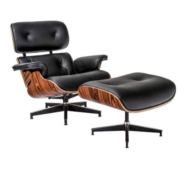 Contemporary Eames Style Lounge Chair & Ottoman - Image 2 of 2