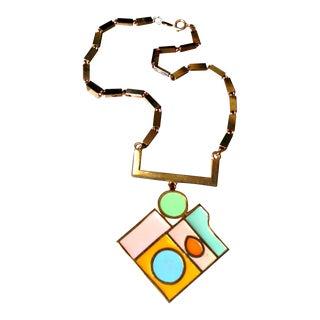 Vintage Geometric Design Enamel Pastel Necklace Accessocraft 1970s For Sale