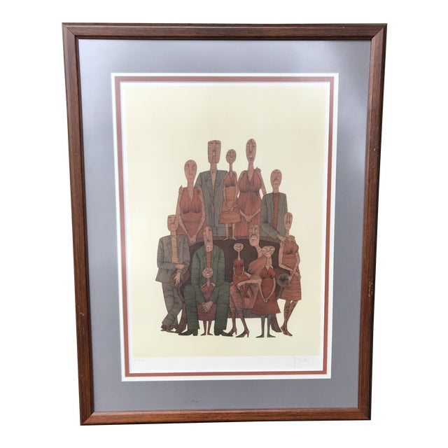 Vintage Mid-Century Abstract Family Portrait Print Block Print Lithograph Signed and Numbered For Sale