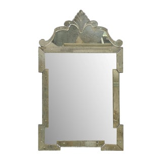 "The ""Hugh"" Venetian Style Mirror, Hand-Silvered and Hand-Made With Ornate Crest For Sale"