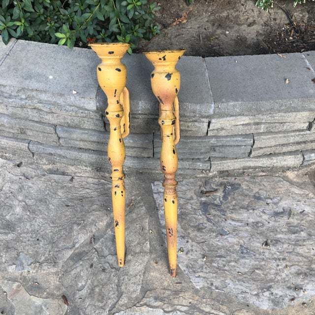 Vintage Rustic Mustard Gold Wall Sconces - a Pair For Sale - Image 4 of 6