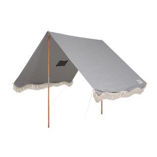 Premium Beach Tent - Lauren's Navy Stripe with Fringe For Sale