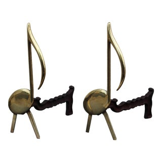 Music Notes Brass Andirons - A Pair For Sale