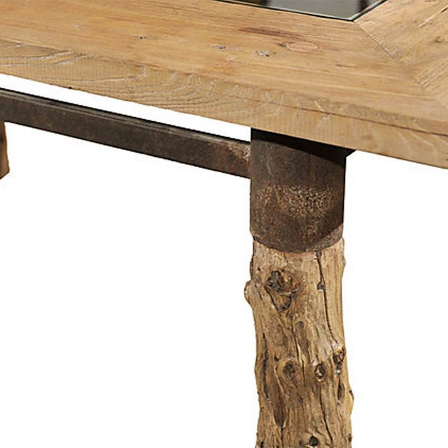 Lodge Burlwood Glasstop Dining Table For Sale - Image 3 of 6