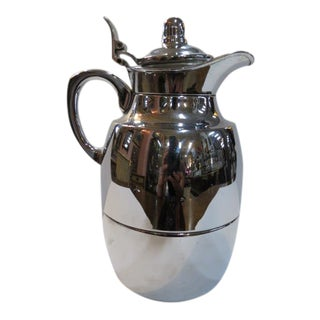 Vintage Mid-Century Modern Alfi Germany Chrome and Glass Insulated Pitcher For Sale