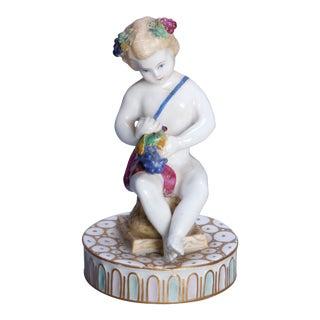 Antique German Figural Dresden Meissen Handpainted and Gilt Porcelain Cupid For Sale