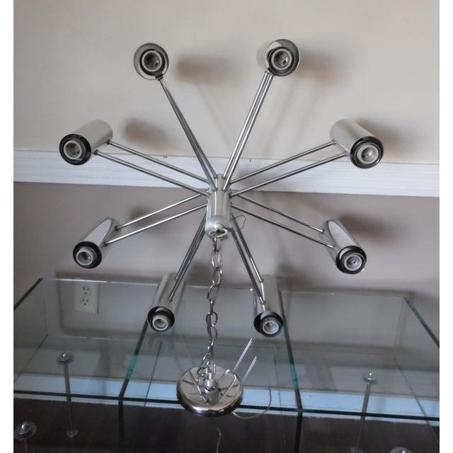 Vintage Mid Century Modern Chrome Starburst Chandelier For Sale - Image 4 of 12