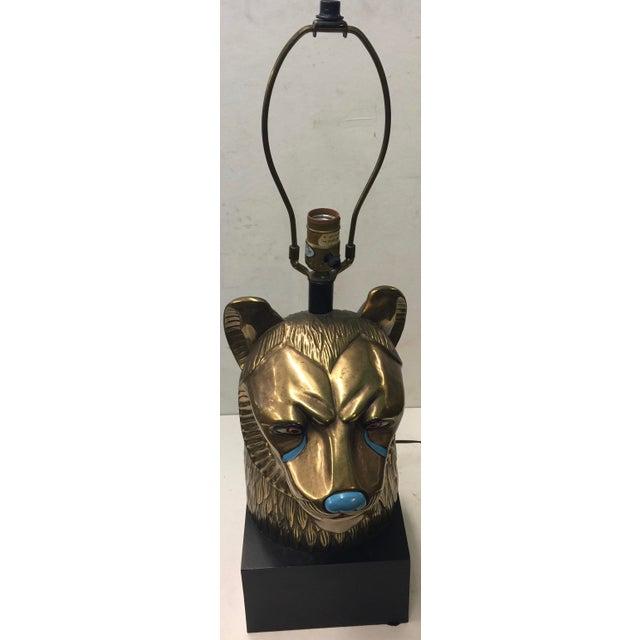 Vintage CHAPMAN Brass Sekhmet Egyptian Lion Figural Bust Goddess Lamp 70's For Sale In San Francisco - Image 6 of 6