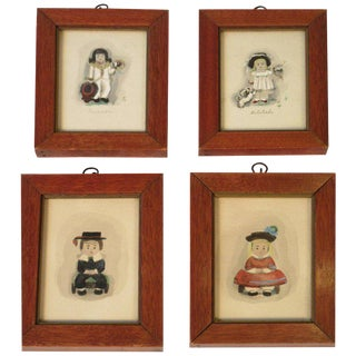 4 Small Water Colors of 19th Century Children For Sale
