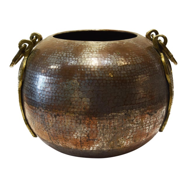 Turkish Tinned and Hammered, Copper Cauldron With Brass Handles For Sale