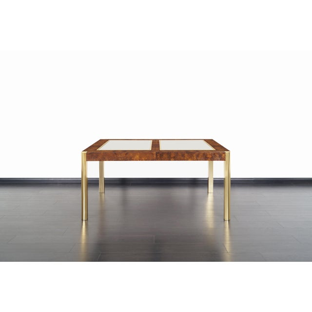 Mid-Century Modern Vintage Burl Wood and Brass Dining Table by Century Furniture For Sale - Image 3 of 13