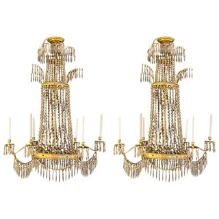 Neoclassical Style Bronze and Crystal Monumental Chandeliers, a Pair For Sale