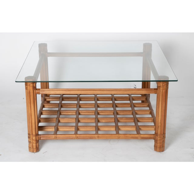David Francis David Francis Rattan Coffee Table With Glass For Sale - Image 4 of 4