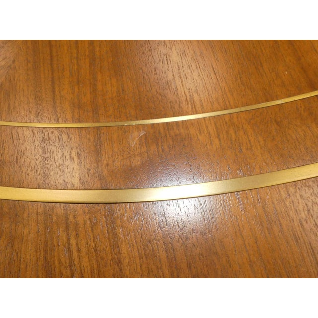 Gold 1960s Mid-Century Modern Bert England for Johnson Furniture Brass Inlaid Round Coffee Table For Sale - Image 8 of 10