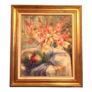 Early 20th Century Impressionist Still Life Flower Arrangement by Carl Olsen For Sale