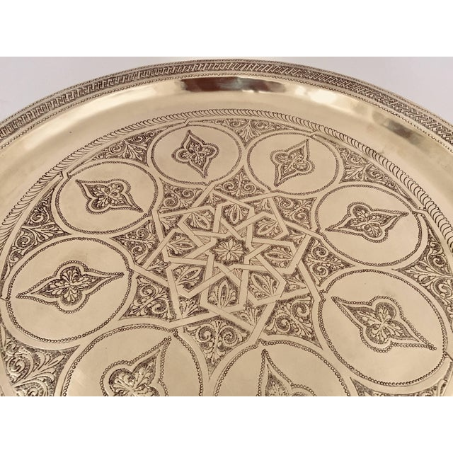 Moroccan Polished Round Brass Tray For Sale - Image 9 of 13