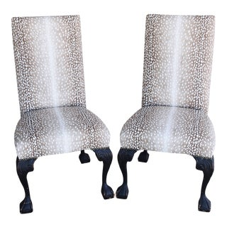 Deer Antelope Fawn Linen Slipper Chairs W/ Carved Claw & Ball Feet - Pair For Sale