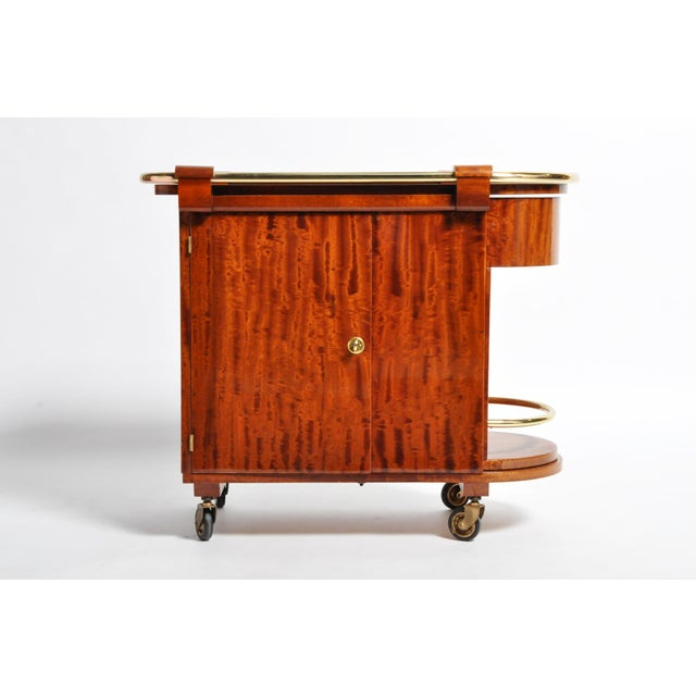 Hungarian Mid-Century Modern Mahogany Bar Cart For Sale - Image 13 of 13