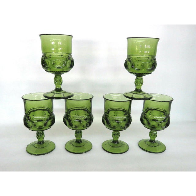 Indiana Glass Kings Crown Thumbprint Green Set of 6 Wine Cordial Goblets For Sale - Image 11 of 11