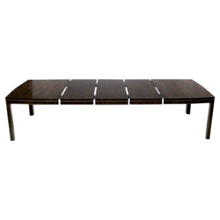 Large Burl Wood Banded Brass Trim Mastercraft Dining Table with 3 Leaves For Sale