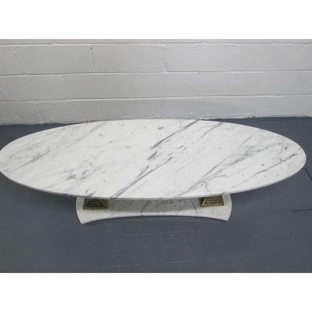 Italian Marble and Brass Oval Top Coffee Table - Image 3 of 6