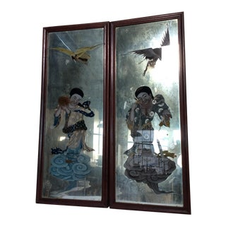 Mirror Backed Chinese Export Paintings - A Pair For Sale