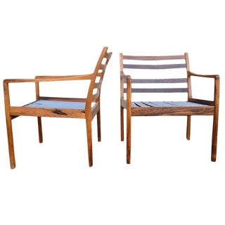 Pair Ole Wanscher Rosewood Arm Chairs For Sale
