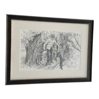 Original Gordon Wetmore Sketch of Boys Climbing Trees For Sale