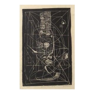 """Negra"" 1964 Monochromatic Abstract Linoleum Print For Sale"