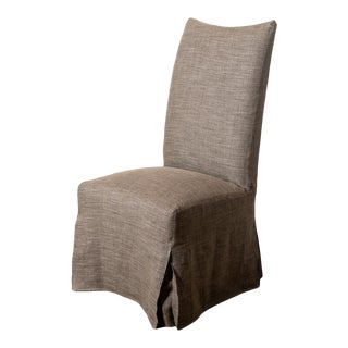 Lee Industries Slipcovered Farrow Acorn Linen Dining Chair For Sale