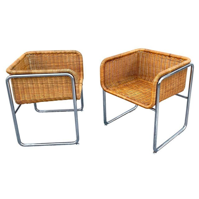 1970s Chrome and Rattan Cube Club Chairs - a Pair For Sale In West Palm - Image 6 of 6